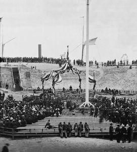 flag raising at fort sumter 1865-04-14