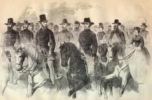 A sketch from Harper's of Lincoln and Hooker reviewing the troop on this date 150 years ago.