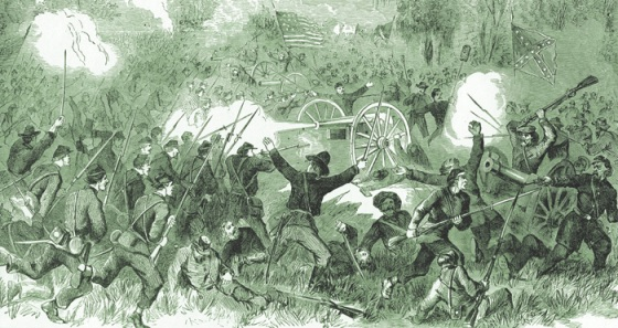 Harper's Weekly sketch depicting the chaotic fighting Champion Hill (National Park Service)