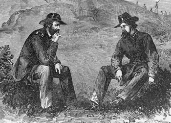 Grant and Pemberton discuss the terms of surrender at Vicksburg (Library of Congress)